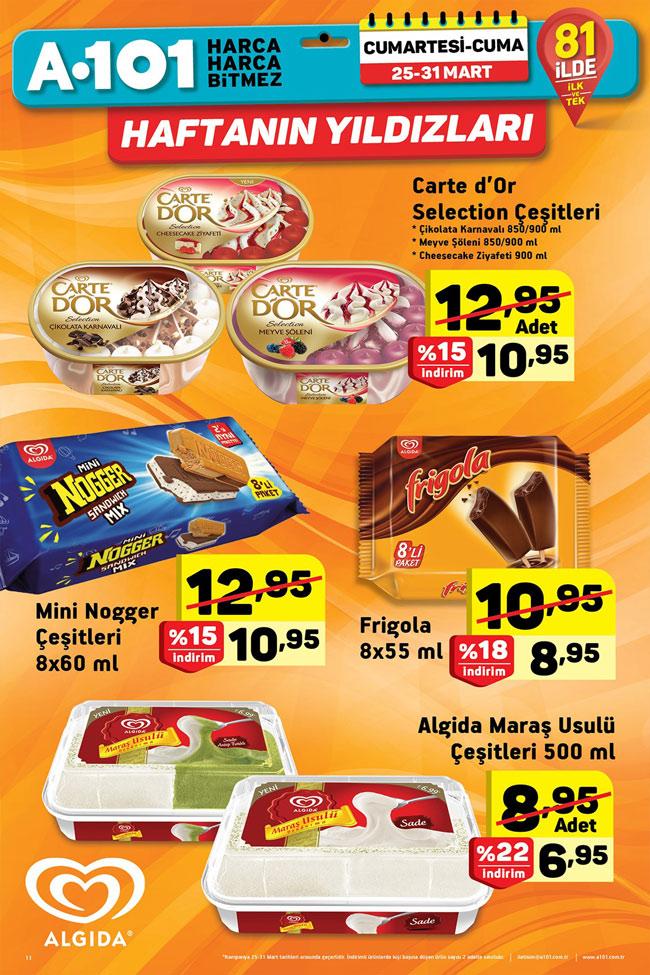 A101 Aktüel 25 31 Mart Algida Dondurma çeşitleri