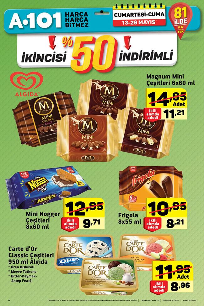 A101 13 26 Mayıs Aktüel Algida Dondurma çeşitleri