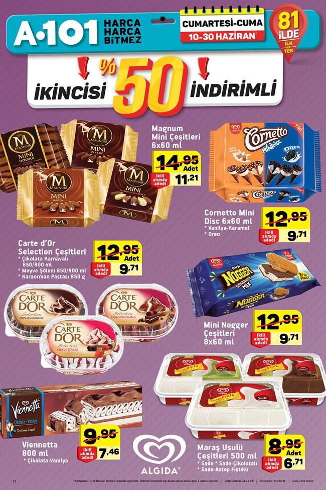 A101 10 30 Haziran Aktüel Algida Dondurma çeşitleri