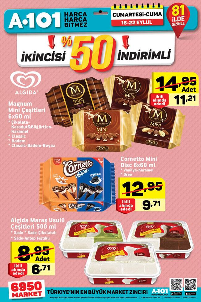 A101 16 22 Eylül Aktüel Algida Dondurma ürünleri