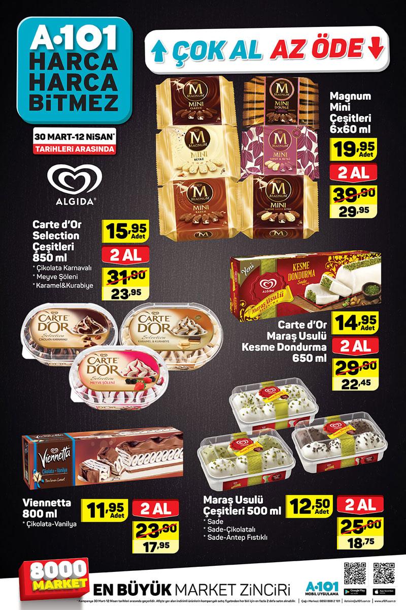 A101 30 Mart 12 Nisan Aktüel Hafta Sonu Algida Dondurma ürünleri